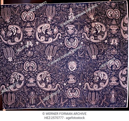 Detail of a batik kain panjang, (a cloth worn about the hips), with a design incorporating flowers and snake-like Nagas. Country of Origin: Indonesia
