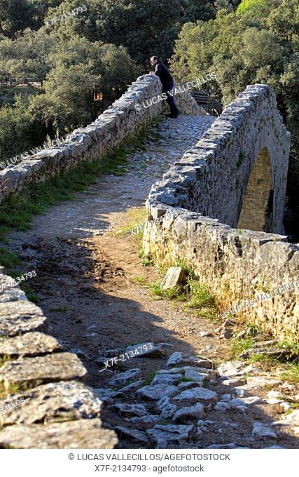 Bridge over Llierca River - 14th Century -, between Sadernes and Montagut villages, La Garrotxa, Girona, Spain