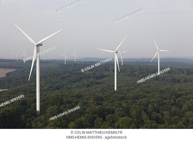 France, Meuse, Wind farm of Bonnet Houdelaincourt. 18 Vestas V90 wind turbines of 125m high for a total power of 36 MW supply 33 000 people (aerial view)
