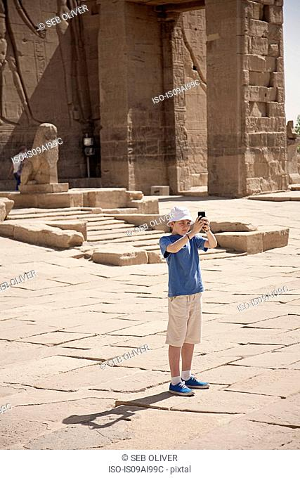 Tourists at Isis's Temple at Philae, Elephantine Island, River Nile, Egypt