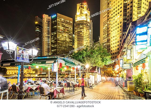 Restaurants on Singapore River, near the Financial District, Singapore