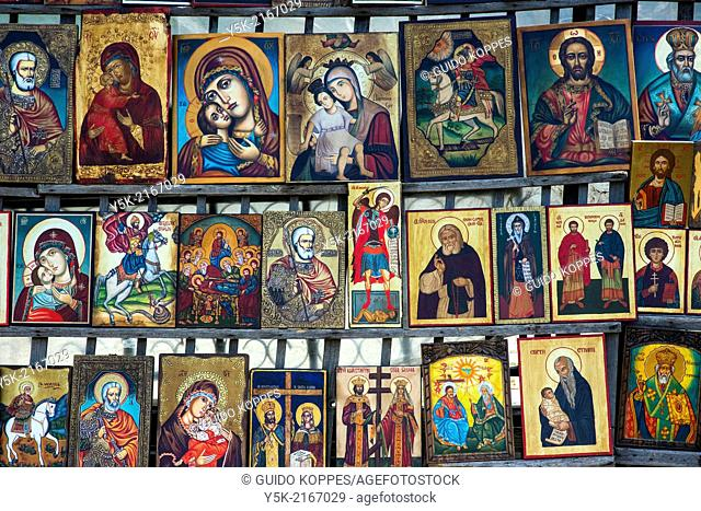 Sofia, Bulgaria. Jumble sale market near the Alexander Nevski Cathedral, down town Sofia, where handmade religious icons and images are sold to the public
