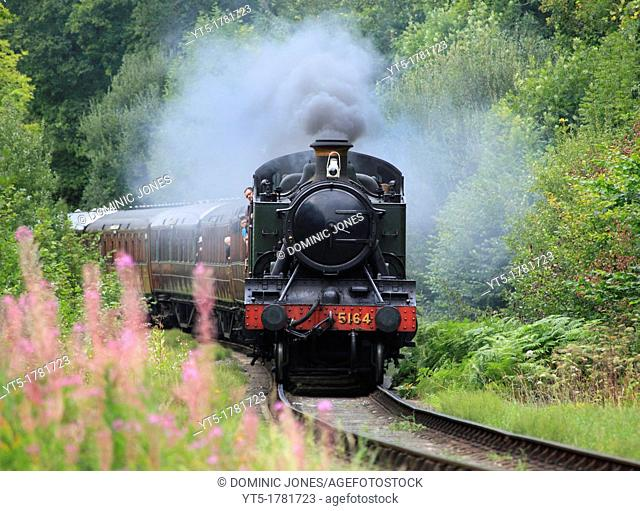 GWR No  5164 Large Prairie Tank Locomotive steams out of Trimpley Reservoir on the Severn Valley Railway, Worcestershire, England, Europe