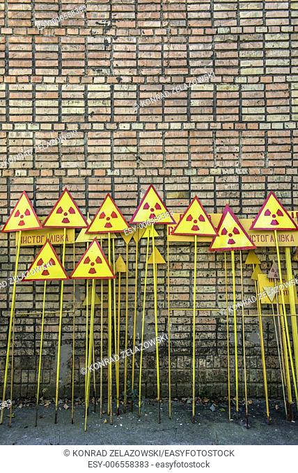 warning signs in Pripyat ghost town, Chernobyl Nuclear Power Plant Zone of Alienation, Ukraine