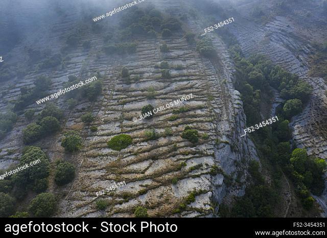 Aerial View, Geological Landscape, Lastras de las Heras, Valle de Losa, Junta de Traslaloma, Las Merindades, Burgos, Castilla y Leon, Spain, Europe