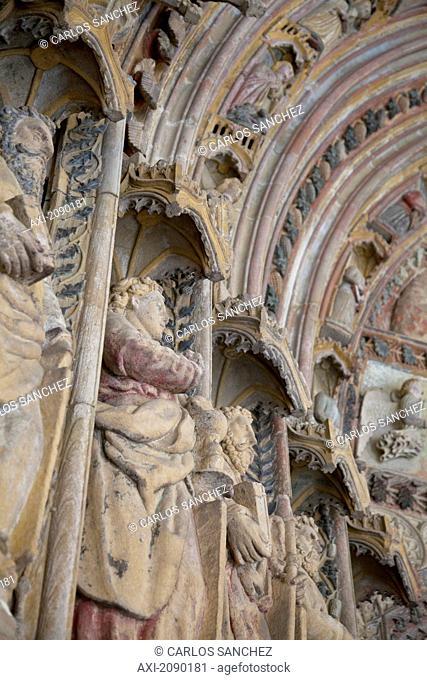 Sculptures On The Main Facade, Church Of Santa Maria La Real, Deba, Gipuzkoa, Spain
