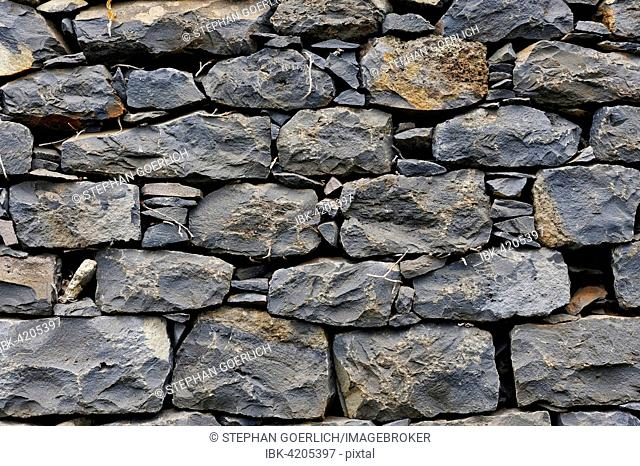 Stone wall, piled stones, Madeira, Portugal