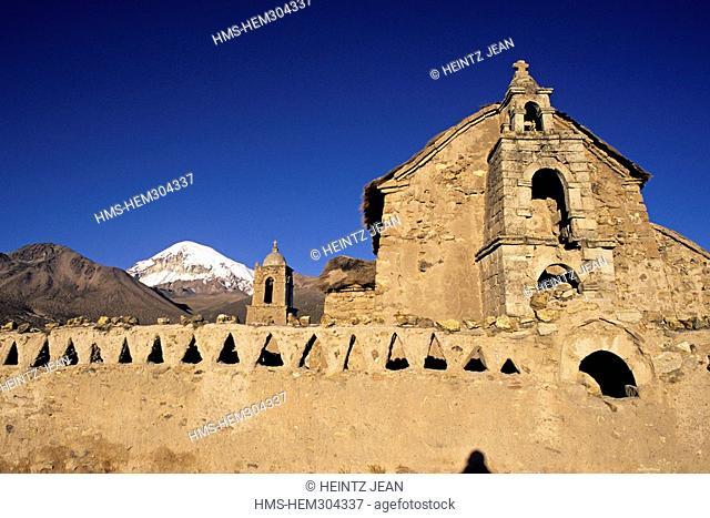 Bolivia, Oruro Department, Sajama Province, village of Sajama and volcano Sajama