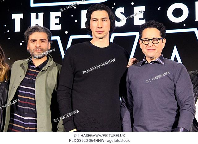"""Oscar Isaac, Adam Driver, J.J. Abrams 12/04/2019 """"""""Star Wars: The Rise of the Skywalker"""""""" Press Conference held in Pasadena, CA. Photo by I"""