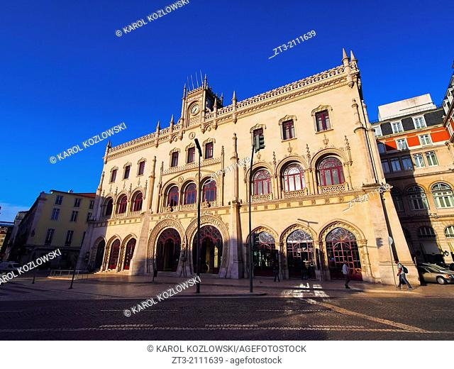 View of the Rossio Railway Station in Lisbon, Portugal
