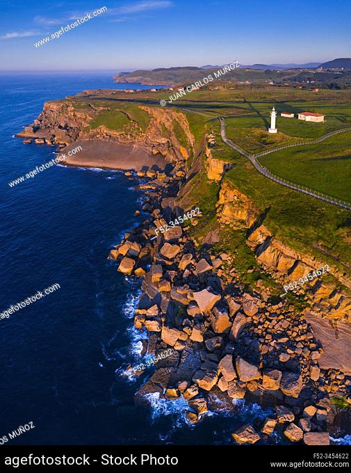 Aerial View, Ajo Lighthouse, Ajo, Bareyo Municipality, Cantabria, Cantabrian Sea, Spain, Europe