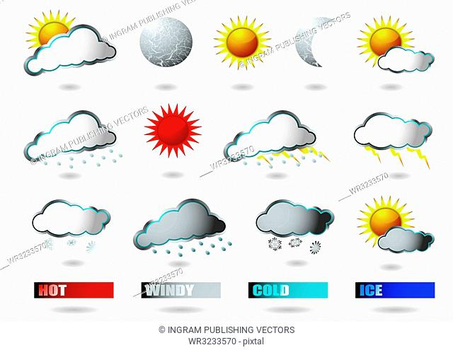 collection of weather icons all with drop shadow