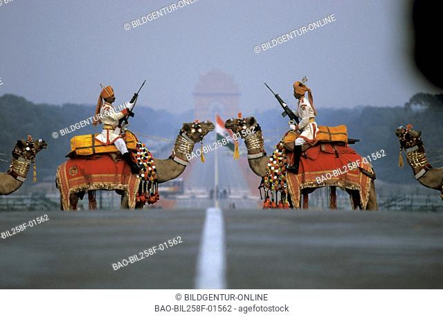 The parade in the national holiday of India in the capital of New Delhi in the province Delhi in west India in India
