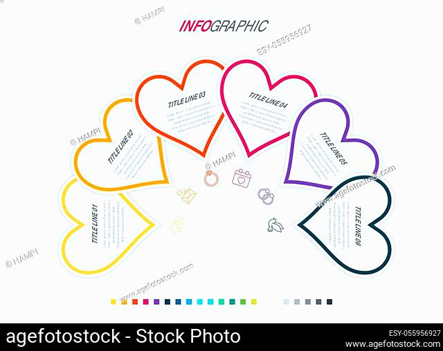 Colorful diagram, heart infographic template. Timeline with 6 hearts. Love workflow process for valentines. Vector design. Warm palette