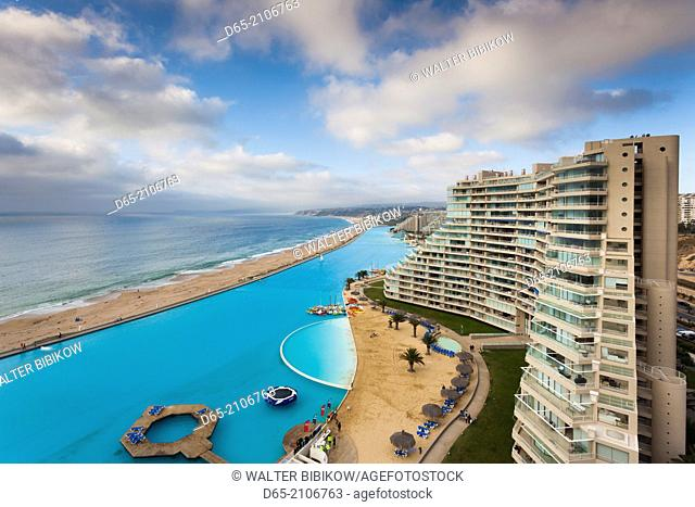 Chile, Algarrobo, San Alfonso del Mar, World's largest man-made pool, elevated view
