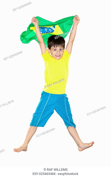 Brazilian Boy, jumping, Brazilian flag