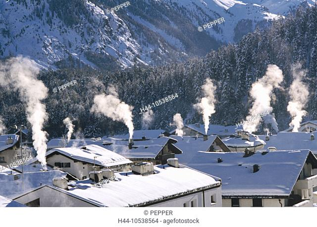 10538564, mountains, alpine, Alps, Engadine, Oberengadin, Switzerland, Europe, Celerina, Switzerland, Europe, roofs, village