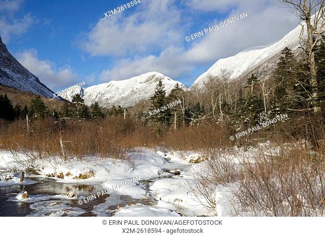 Eagle Cliff from along the Pemi Trail in Franconia Notch State Park of the New Hampshire White Mountains during the winter months