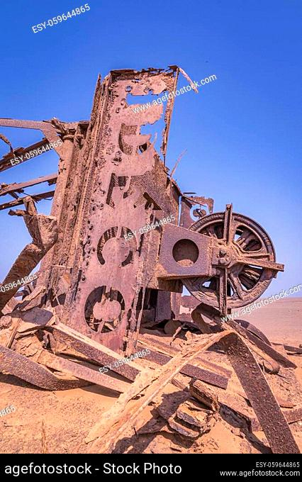 Abandoned oil rig in the Skeleton Coast in Namibia, Africa