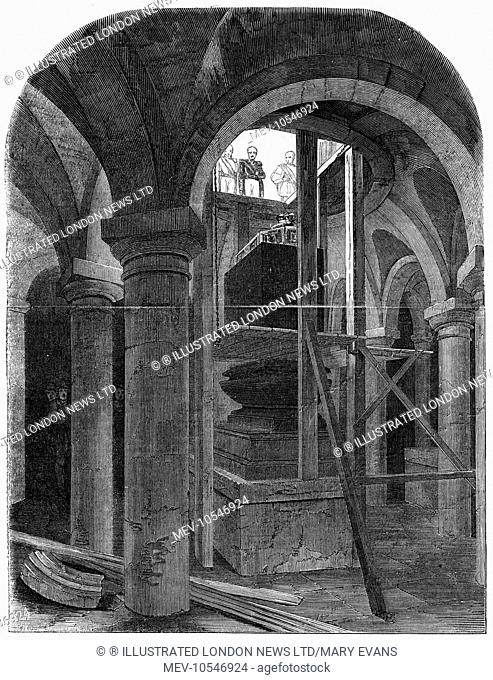 The funeral of the Duke of Wellington: the Duke's remains in the crypt at St Paul's cathedral