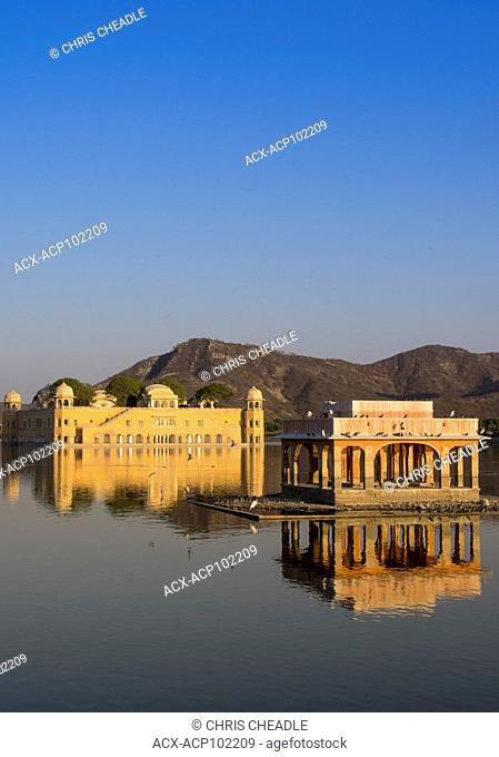 Jal Mahal , Water Palace, located in the middle of the Man Sagar Lake in Jaipur city, the capital of the state of Rajasthan, India