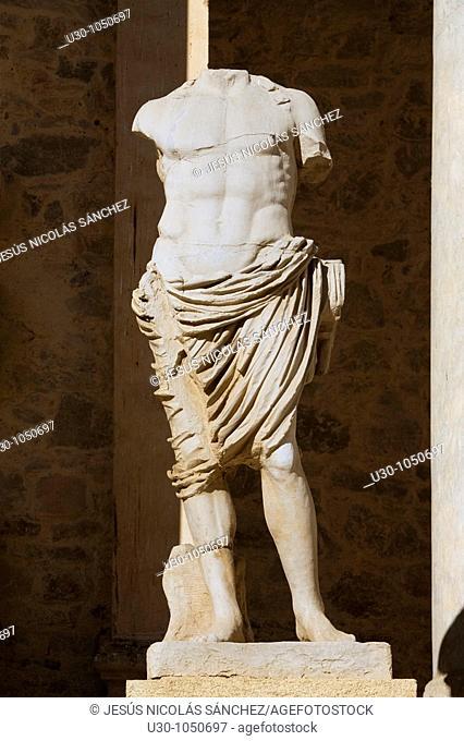 Details of Roman theatre of Mérida city, in Badajoz province  Extremadura  Spain