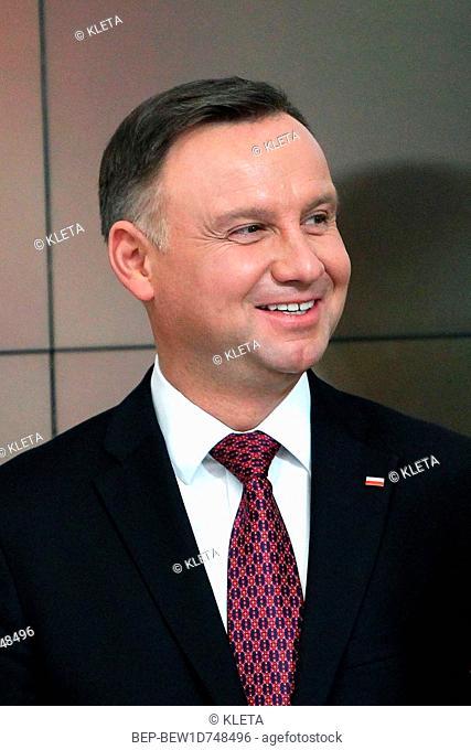 February 27, 2019 Warsaw, Poland. Pictured: President of Poland Andrzej Duda