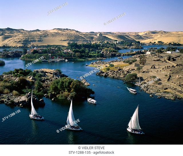 Aswan, Boats, Desert, Egypt, Africa, Hills, Holiday, Landmark, Mountains, Nile, Nile river, River, Sail, Sailboats, Sailing, Tou