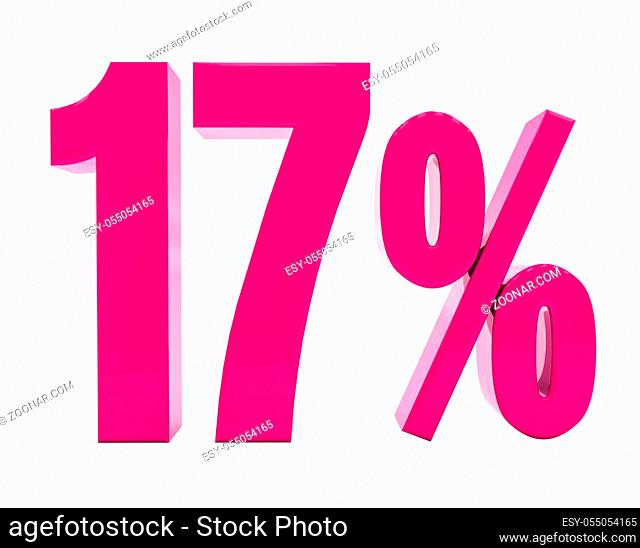 3d Illustration 17 Percent Discount Sign, Sale Up to 17, 17 Sale, Pink Percentages Special Offer, Save On 17 Icon, 17 Off Tag, 17 Percentage Sign, Percentage 3d