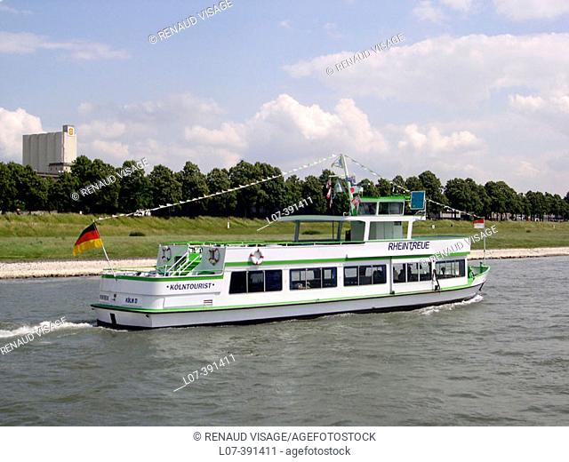 Tourist boat on the Rhine River. Cologne. Germany