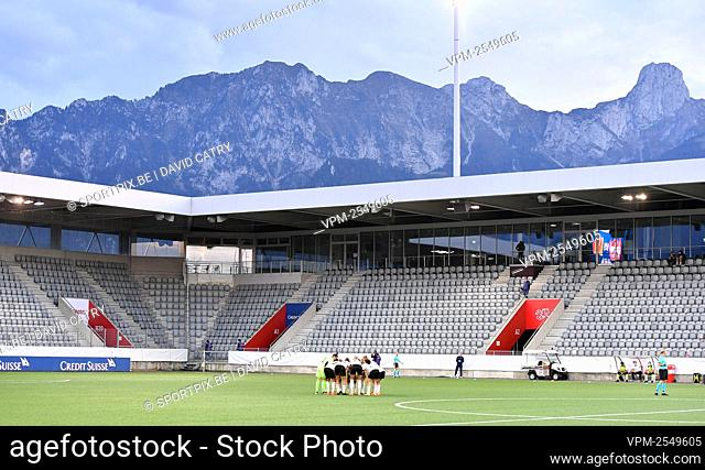 Illustration picture shows the Belgian team prior to a soccer game between Switzerland and Belgium's Red Flames, Tuesday 22 September 2020 in Thun