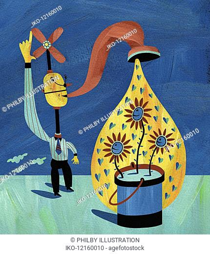 Businessman with tap on head watering plants