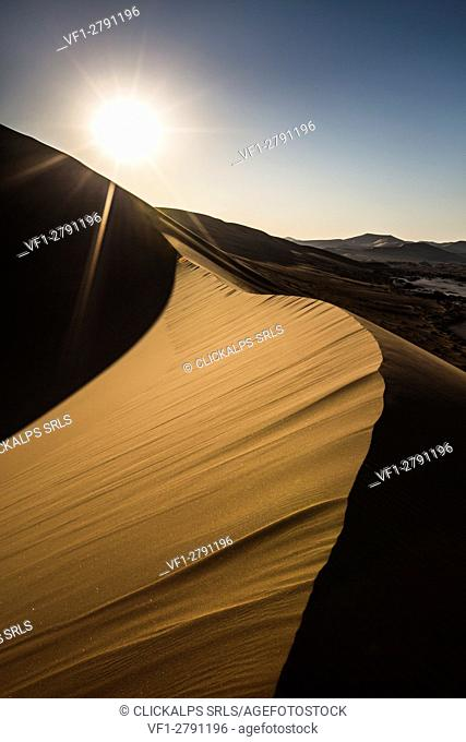Sunset backlight on Sossusvlei dune