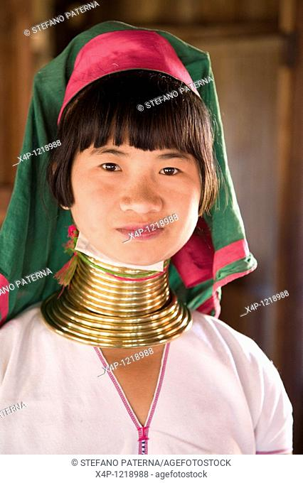 Portrait of a young Palaung girl. Inle Lake, Myanmar