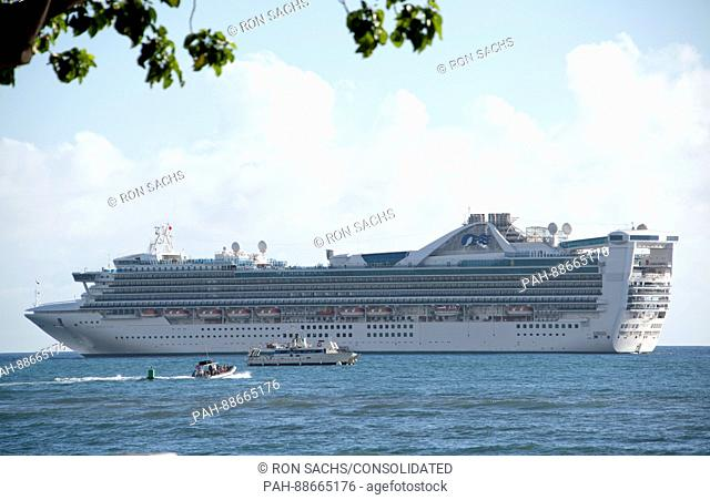 The Star Princess in the harbor of Lahaina, Maui, Hawaii on Thursday, March 2, 2017. Star Princess is a Grand-class cruise ship, operated by Princess Cruises