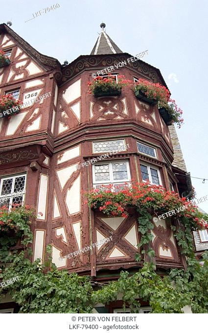 Half-timbered house with little tower at the corner, Bacharach, Rhineland-Palatinate, Germany