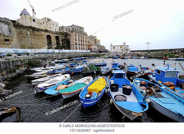 Rione Terra seen from the dock, Pozzuoli, Naples, Campania, Italy, Europe