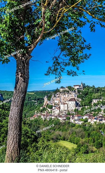 France, Natural regional park Causses du Quercy, Lot, Alzou and Rocamadour (Most Beautiful Village in France) Saint James way, (12th-19th century)