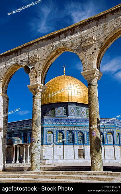 Jerusalem - The Dome of the Rock Mosque with blue sky