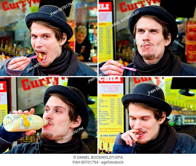 "COMBO - Jak eats a grade 10 hot currywurst at the snack stand """"Curry & Chili"""" in Berlin, Germany, 13 February 2014. Photo: DANIEL BOCKWOLDT/dpa 