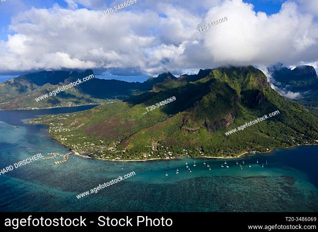 Aerial View of Cook's Bay and Opunohu Bay, Moorea, French Polynesia