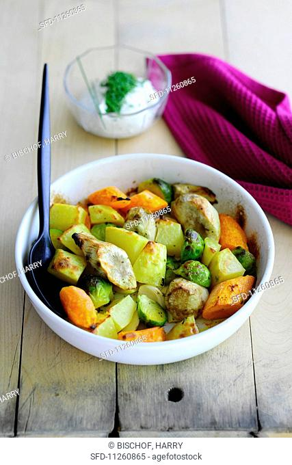 Oven-roasted vegetables with Jerusalem artichokes and Brussels sprouts