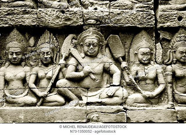 Cambodia, Siem Reap Province, Angkor site listed as World Heritage by UNESCO, bas relief detail of the terrace of the Leper King