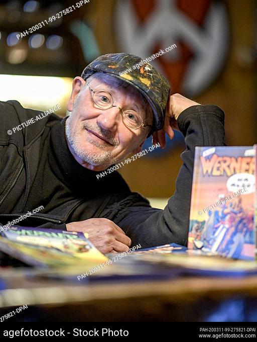 "12 February 2020, Schleswig-Holstein, Kiel: Rötger Feldmann, comic illustrator and inventor of the comic figure """"Werner"""""