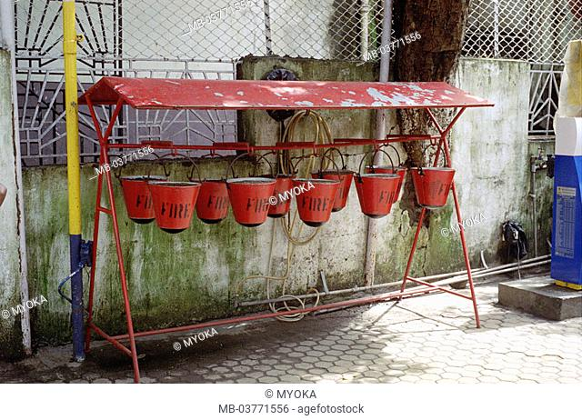 India, Bombay, district Colaba, Selectors, buckets, symbol, Fire-fighting Asia, South Asia, buckets, pail, red, writing, stroke, fires, Fire, fire buckets