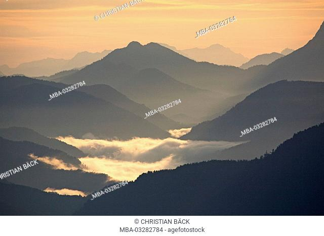 View of the 'Herzogstand' to Tyrol, Schneidjoch, Bavarian pre-alpine, Alpine foreland, alps, Bavarian uplands, Upper Bavaria, Bavaria, South Germany, Germany