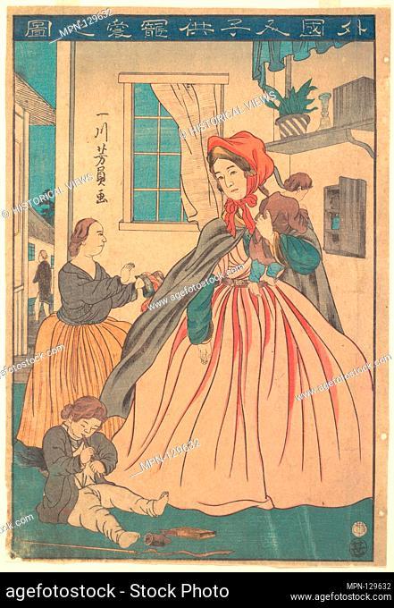 Gaikokujin kodomo choai no zu/A Foreigner Enjoying Her Children. Artist: Utagawa Yoshikazu (Japanese, active ca. 1850-1870); Period: Edo period (1615-1868);...