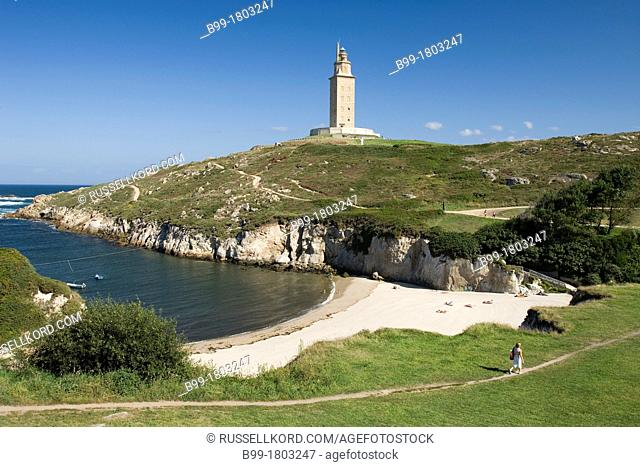 Small Beach In Cove Tower Of Hercules Roman Lighthouse La Coruna Galicia Spain