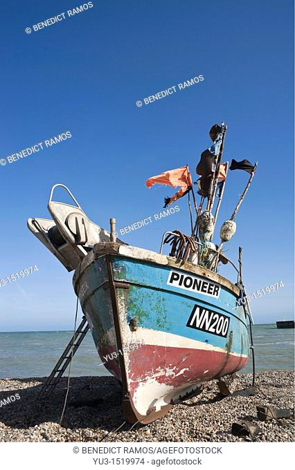 Fishing boat on the beach, known as the Stade, Hastings, East Sussex, England, UK
