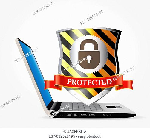 Computer security concept - shield anti-virus and laptop